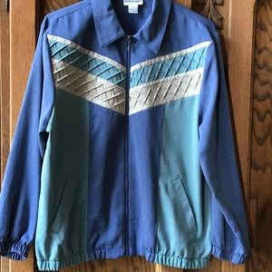 Alfred Dunner Blue with Green and Tan Jacket